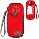 USA GEAR FlexARMOR Medical Case - Insulated Medicine Bag Epipen Case with Water Resistant Exterior and Insulated Liner - Holds Two EpiPens, Insulin Syringes, Asthma Inhaler, Ice Pack, and More (Red)