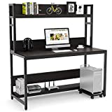 Tribesigns 55 Inches Large Computer Desk with Hutch, Modern Writing Desk with Bookshelf, PC Laptop Study Table Workstation for Home, Dark Brown + Black Legs