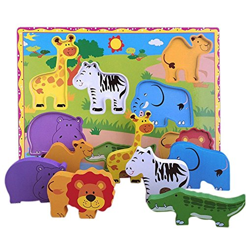 Lewo Wooden Wild Animals Chunky Puzzle for Toddlers Preschool Learning Educational Toys 7 Pcs (Wild Animal)