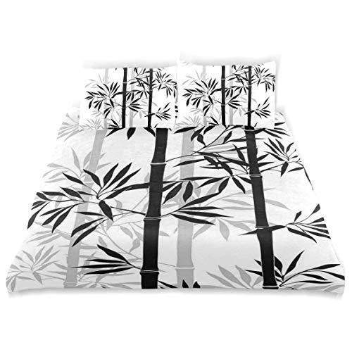 Qoqon Conjunto de Funda nórdica Silueta del árbol de la Vida Hojas de bambú Antiguas Imagen de Feng Shui Boho japonés Decorativo W Juego de Cama Decorativo de 3 Piezas con 2 Fundas de Almohada
