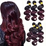 Ombre Bundles T1B/99J Ombre Human Hair 3 Bundles Black To Burgundy Dark Roots 100G/Pcs Body Wave Unprocessed Brazilian Virgin Human Hair Extensions Two Tone Sew In Weave Mixed Length(18 20 22Inch)