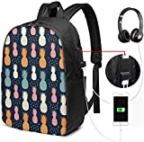 Rucksack mit USB-Schnittstelle Summer Texture with Tropical Fruits Waterproof Laptop Backpack with USB Charging Port Headphone Port Fits 17 Inch Laptop Computer Backpacks Travel Daypack School Bags f