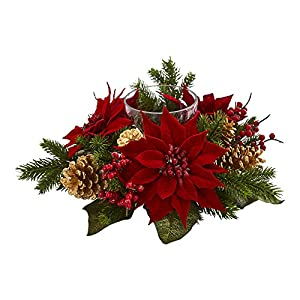 Nearly Natural Poinsettia, Berry and Golden Pine Cone Candelabrum Artificial Silk Arrangements Red