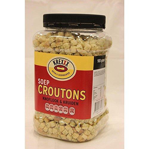 Krexxx Soep Croutons Knoflook & Kruiden 900g Dose (Knoblauch & Kräuter Suppen Croutons)