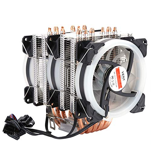 Hopcd Ventilador de enfriamiento de CPU, Ventilador de enfriamiento de CPU de computadora de 4 Pines Ultra silencioso de 6 Tubos para Intel775 1150 1151 1155 1156 1366, disipador de Calor de CPU