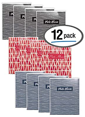 36 Photo Mini Photo Album, 4 x 6 Inch, Pack of 12, Flexible Cover with Removable Decorative Inserts, Clear View Front Cover, by Better Office Products, 12 Pack