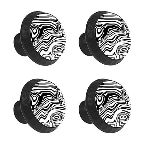FCZ 4 piezas abstractas de líneas blancas y negras con forma de círculo, tiradores de cajón con tornillos para el hogar, la cocina y la oficina