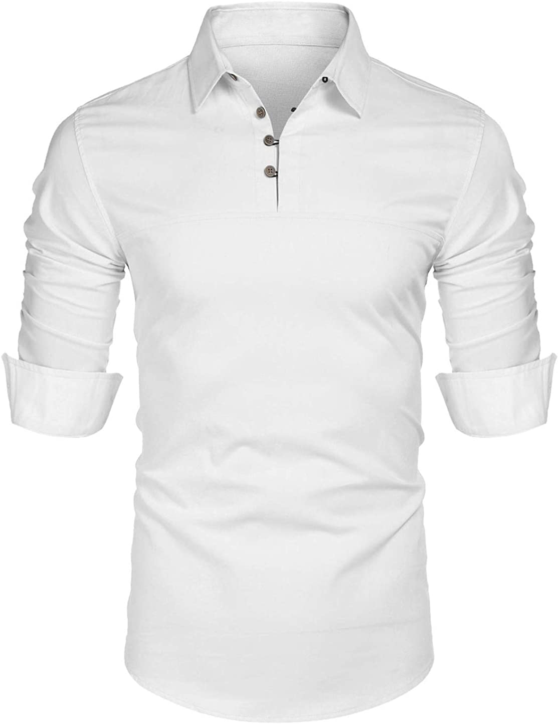 utcoco Men's Relaxed Fit Spread Collar Long Sleeve Cotton Linen Henley Shirt