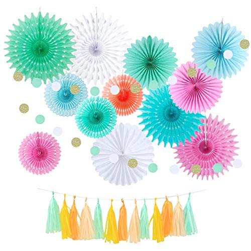 Colorful Hanging Paper Fans Decorations Spring Princess Pink Cream Mint with Glitter Circle Dot Tassel Decor for Afternoon Birthday Wedding Baby Shower Party