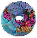 Feelinko farbenfroher leichter floraler Loop mit ausgefallenem Rosen Blumen Design Schlauch-Schal Blau Türkis Pink