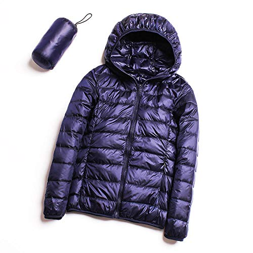 ADXD Leichte Daunenjacke Damen Kapuze Daunenjacke Kurz Damen Winter XL Jacke, navy, Größe S