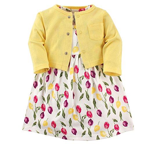 Luvable Friends Conjunto de Vestido y cárdigan para bebé niña, Tulips, 3-6 Months (6M)