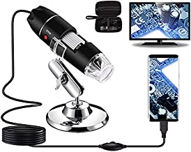 Bysameyee USB Digital Microscope 40X to 1000X, 8 LED Magnification Endoscope Camera with Carrying Case & Metal Stand, Compatible for Android Windows 7 8 10 Linux Mac