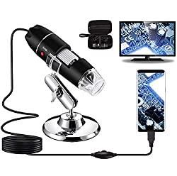 powerful Bysameyee 40X ~ 1000X USB Digital Microscope, Endoscope Camera with 8 LED Magnifier, Carrying Case and Metal Stand, Compatible with Android Windows 7 8 10 Linux Mac