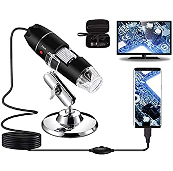 Bysameyee USB Digital Microscope 40X to 1000X 8 LED Magnification Endoscope Camera with Carrying Case & Metal Stand Compatible for Android Windows 7 8 10 Linux Mac