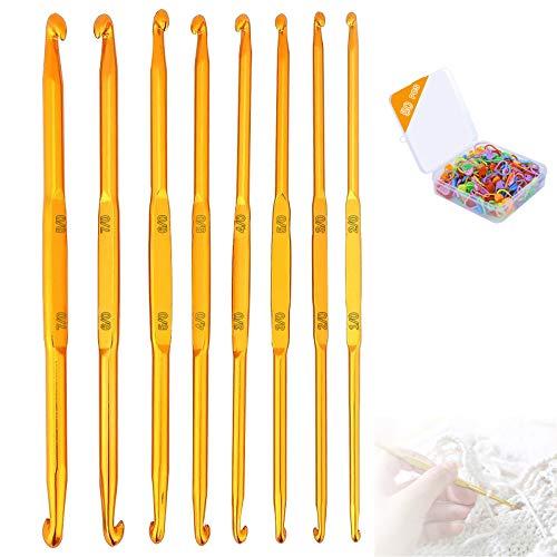Nothers GZjiyu - Juego de 8 agujas de ganchillo de doble extremo + 50 marcadores de punto para gorro, suéter y otras prendas de punto