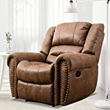 ANJ HOME Heavy Duty Faux Leather Recliner Chairs for Living Rooms Overstuffed Manual Reclining Single Sofa with Headrest (Nut Brown)