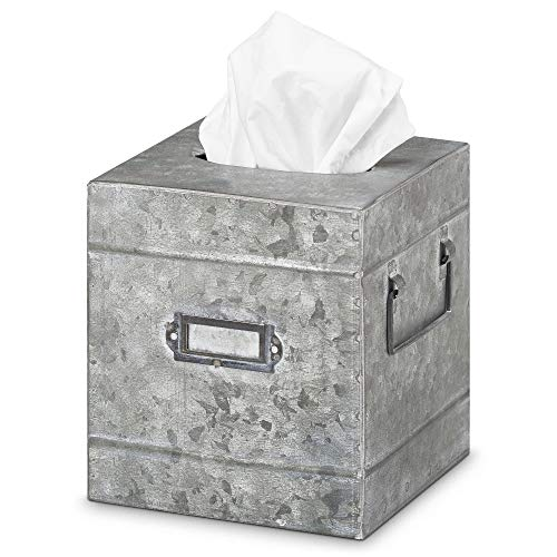 """Barnyard Designs Rustic Galvanized Square Tissue Box Cover - Decorative Bathroom Facial Tissue Box Holder Farmhouse Country Decor 6"""" x 6"""""""