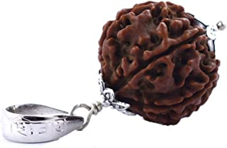 skyjewels Eight Mukhi Rudraksha Bead in Silver Capping with Om Namah Shivaya Mantra