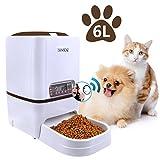 Iseebiz Comedero Automatico Mascota 6litros Alimentador Comida para Perros/ Gatos con Recordatorio por Voz y Temporizador Programable, Pantalla LCD