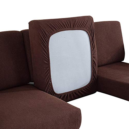 Buyfunny01 Sofa Cushion Fitted Home Decor Elastic Furniture Protection Stretchy Couch Slipcover Bedroom Replacement Solid Chair Seat Living om(1 SeatBrown)
