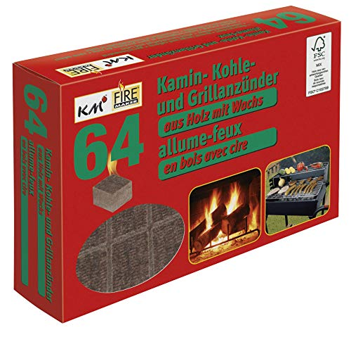 KM Firemaker 64 - Encendedor para Barbacoa y Chimenea de Madera Natural con Cera/Encendedor, 272