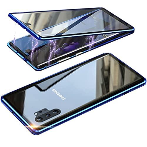 RAYOO Custodia per Samsung Galaxy Note 10+ 5G,Galaxy Note 10 Plus Cover,360 Gradi Trasparente Vetro Temperato Adsorbimento Magnetico Cornice Paraurti in Metallo Full Body Case for Note10 Plus,Blu