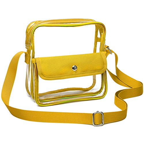Clear Purse, Stadium Approved Bags for Rolling Stone Hamilton Concert Arena, Clear Crossbody Bag Transparent for Women Men Work School (Yellow)