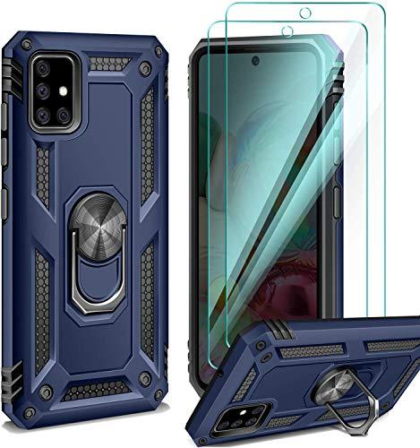 AROYI Handyhülle Kompatibel mit Samsung Galaxy A71 Hülle mit 2 Stück Panzerglas, 360 Grad Ring Halter Cover Magnetische Bumper - Blau