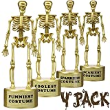 Tiston Halloween Party Supplies, 4 Pack Best Costume Skeleton Trophies, Funny Trophies with Stickers & Transparent Packing Box, Halloween Costume Contest Party Awards