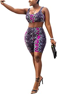 Womens 2 Piece Shorts Outfits Spandex Biker Lip Print Shorts Set Outfit Two Piece Tracksuits