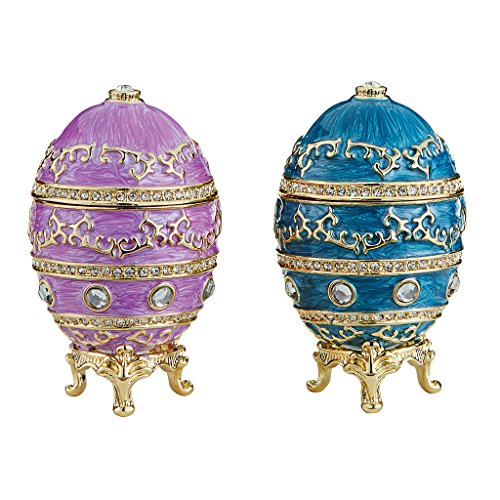 Design Toscano Farbergé-Ei im Kaiserlichen Baroque-Stil: 2er Set Skulpturen, Metall, Mehrfarbig, 4 x 4 x 6.5 cm