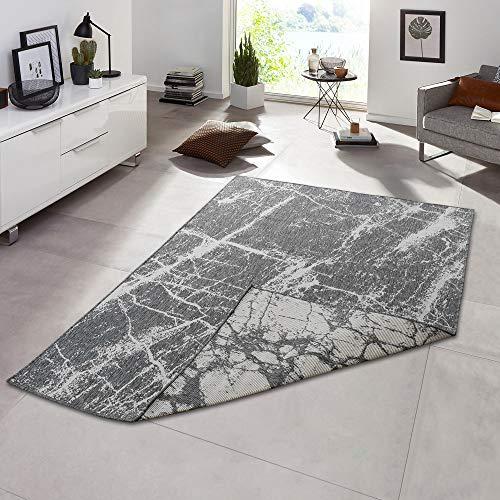 Teppich Boss In- & Outdoorteppich Flachgewebe Wendeteppich Stone Marmor-Optik modern, Größe:160x230 cm, Farbe:grau/Creme