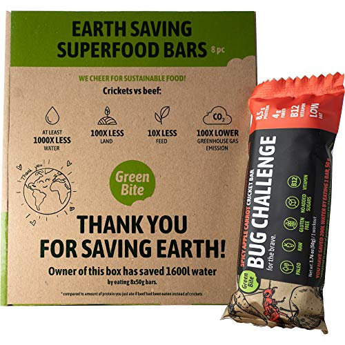 Bug Challenge Cricket Protein Bar - Spicy Apple Carrot Flavored Tasty and Healthy Snack with Crickets. Highly Nutritious, Low Calories eco-Friendly. Gluten Free, High Fiber. 1.8oz (Pack of 8)