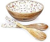 Insalatiera grande in legno da 25 cm con due posate per insalata per servire insalateFruttiera o lati e altro ancora