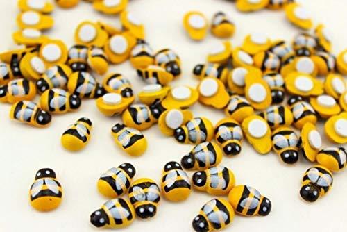 Cratone Bienen selbstklebend mit Klebepunkt Zum dekorieren aus Holz 10 mm als Glücks-Biene Deko für DIY Handwerk Dekoration Scrapbooking 100 Stück
