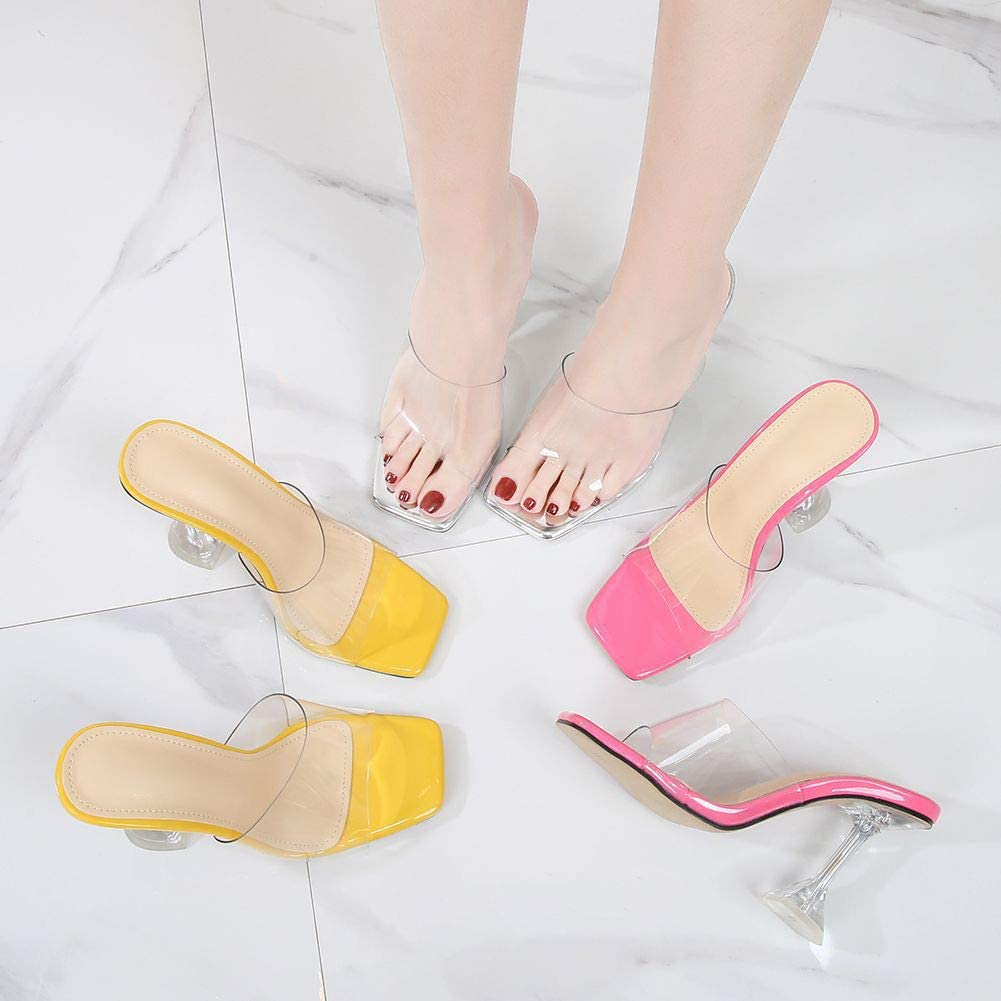 YIYA Women's Clear High Heel Mules Transparent Square Open Toe Heeled Slides Sexy Sandals Summer Party Shoes