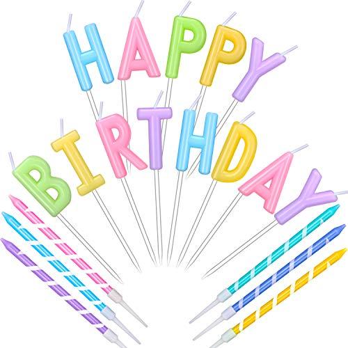 Torta Candele di Happy Birthday Candele Colorate di Lettera Decorazione a Lettera di Topper di Compleanno e 6 Pezzi Candeline Torta a Spirale Lunghe Multicolori con Supporti per Bambini Compleanno
