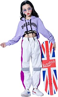 3Pcs Girls Hip Hop Dance Costume Niños Street Dance Clothes Set Sudadera Corta con Capucha, Camiseta sin Mangas, Pantalone...