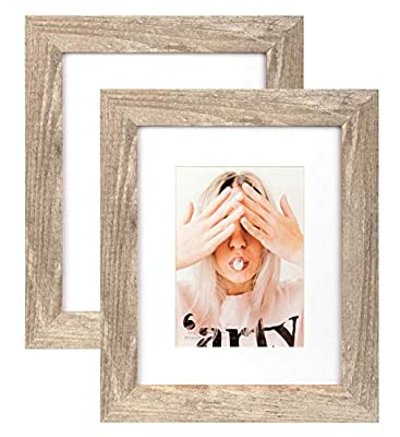 Scholartree Wide Molding 8x10 Picture Frame Display Picture 5x7 with Mat, HD Glass Inside Rustic Wooden Photo Frames for Table Top and Wall Mounting, 2 Sets