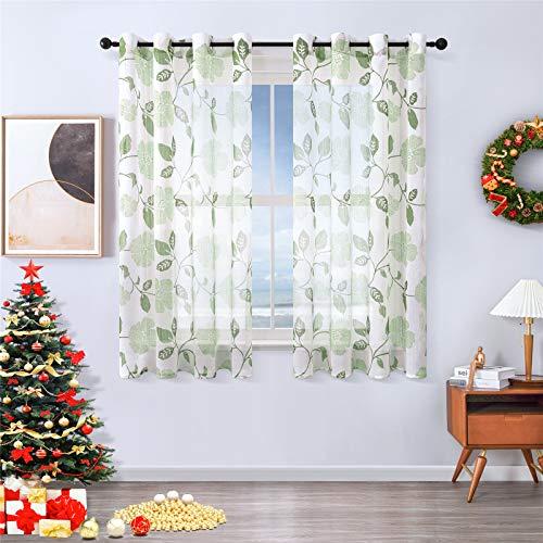 MRTREES Voile Gardinen Vorhang halbtransparent kurz Gardine Blumen Vorhänge Muster mit Ösen in Leinenoptik Grün Türkis 160×140 (H×B) Schlaufenschal 2er Set für Wohnzimmer Schlafzimmer Kinderzimmer