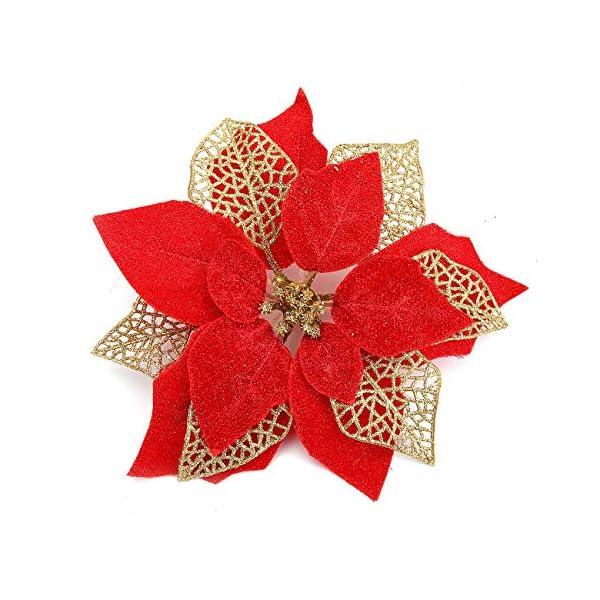 Bluelliant 12 x Adornos Navidad Flores de Pascua de Brillo Poinsettia para Árbol Casa Escaparates Interior Exterior…