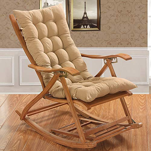 KTOL Chair Patio Cushion Chair Pads, Patio High Back Lounger Patio Cushion Seat Back Indoor Outdoor Chaise Lounge Cushion Thicken Pad Armchair Rocking Chair Mat-beige 120x48cm
