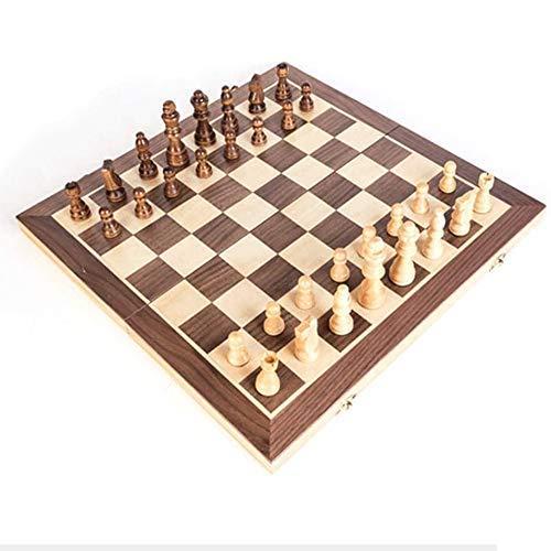 LURUZA Tablero de ajedrez magnético de Madera portátil Tablero Plegable Tablero de ajedrez Internacional Juego de ajedrez para Fiestas y Actividades Familiares, 40Cm, 40Cm