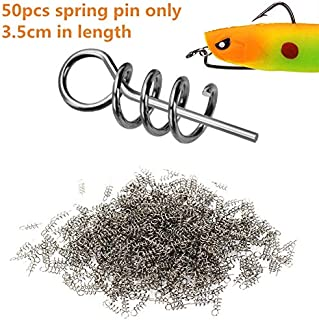 Z&S 50 Pack 304 Stainless Steel Centering Sping Pin Twistlock for Soft Lure Worm Weighted Hook Fishing Latch Screw Needle 3.5cm 1.5cm