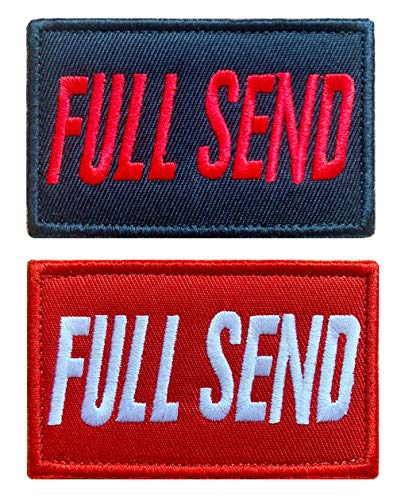 Antrix 2 Pcs Funny Popular Trendy Full Send Patch Hook and Loop Full Send Patches for Clothes Caps Uniform Backpack Vest Dog Harness