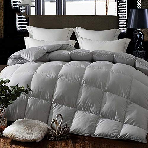 Goose Down Feather Comforter Hypoallergenic Double Size Duvet Insert 3Kg Fill Weight Premium Baffle Box 100% Cotton Shell with Corner Tabs Grey 200×230cm