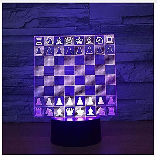 Tablero de ajedrez de acrílico Luz 3D USB Novedad 7 colores que cambian la luz de noche LED 3D La lámpara de mesa LED es la mejor como decoración del hogar