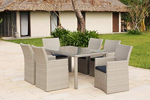 Backyard Furniture Barcelona Rattan Wicker 6 Seat Square Dining Set with Cushions and Weatherproof Furniture Cover