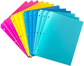 MAKHISTORY Plastic 2 Pocket Folders with 3 Holes Punched - 12 Pack, for 3 Ring Binder, Keeps Letter Size Paper, Bright Colors